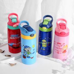 沃盖特时尚卡通儿 童保温杯带吸管不锈钢水壶学生防 摔水杯子B-WGT-J505 400ml 紫色