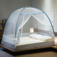沃盖特蒙古包蚊帐座床式免安装家用学生宿舍折叠防蚊帐篷可挂风扇 120x200cm1.2米床适 麋鹿-棕