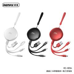 remax睿量伸缩数据线三合一充电线一拖三快充安卓苹果华为三头type-c车载充电器RC-185th