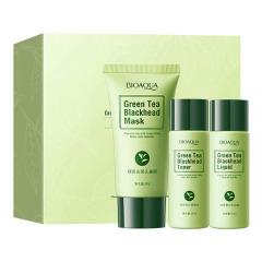 泊泉雅绿茶祛黑头三件套 保湿补水滋润吸出黑头温和 面部护理 绿色 去黑头三件套