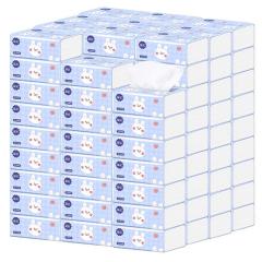 漫花抽纸40包整箱批发家用装纸巾小包便携纸抽原木四层卫生纸 白色 40包/箱