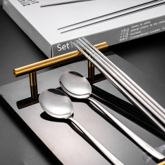 MAYNOS美诺斯筷子勺子套装304不锈钢餐具12件筷勺套装 筷勺套装 不锈钢